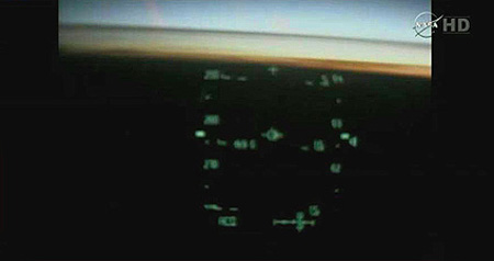 Space Shuttle Mission STS-135: Final Approach As Seen Through Atlantis Pilot's Heads-Up Display (HUD)