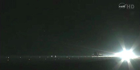Space Shuttle Mission STS-135: Space Shuttle Atlantis Lands at Kennedy Space Center in the Early Morning of July 21, 2011