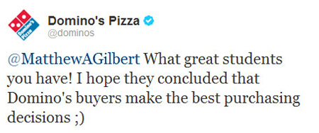 @Dominos Tweet to @MatthewAGilbert