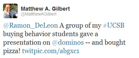 @MatthewAGilbert's Tweet to @Ramon_DeLeon and @Dominos