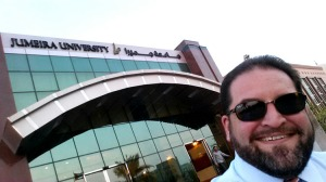 Me in front of Jumeira University in Dubai, UAE.