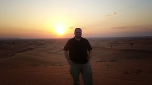 Matthew Gilbert in the Al Hatta desert on a desert safari.